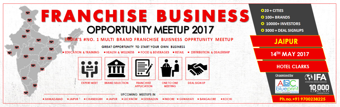 Book Online Tickets for Franchise Opportunity Meetup Jaipur, Jaipur. Meetup overview Welcome to the Franchise Business Opportunity Meetup  2017. The key objective of this meetup is to business owners and prospective investors who are interested in starting, buying or franchising a business. In the meetup, will di