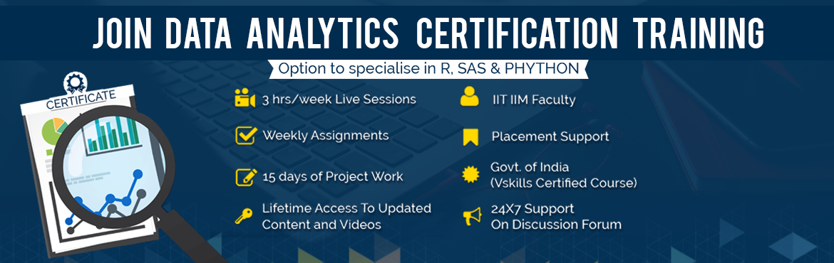 Book Online Tickets for Data Analytics Certification Course, NewDelhi.   Why Become a Data Analyst?  - Talent Gap of Skilled Candidates: Data is expected to grow 50 times by 2020 (source: Aureus Analytics). The ability to analyze this data is not increasing proportionally, leading to a talent gap of skilled candidates i