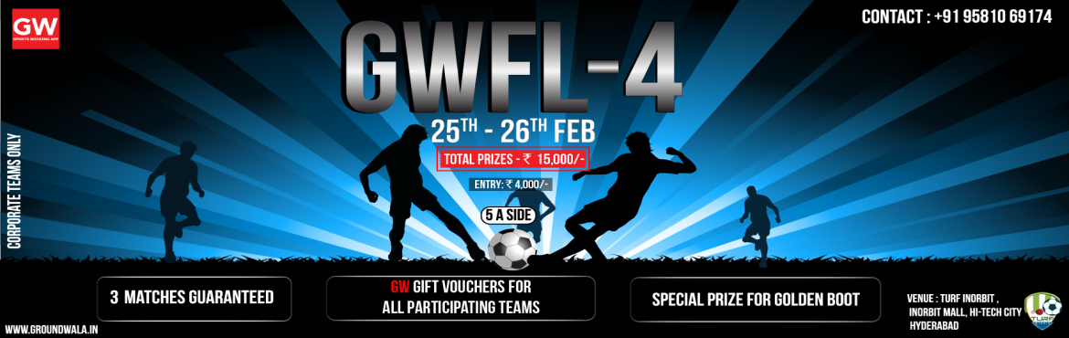 Book Online Tickets for GW Football League 4, Hyderabad. GW Football League is a monthly football bash organised by GW sports app is association with football turfs in various cities of India. Top teams across the city participate and play some top quality football. Join the league be part of football wave