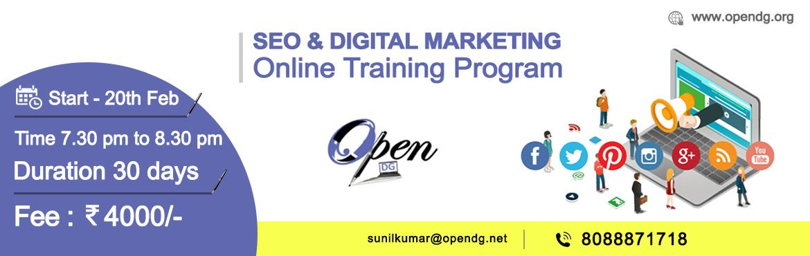 Book Online Tickets for Digital Marketing Online Training Progra, Hyderabad. Wanna become a Digital Marketing Professional?Awesome!Open DG has come up with the right thing for you!SEO & Digital marketing online training programTraining Starts from 20th Feb 2017. Time: 7.30 pm to 8.30 pmDuration: 30 daysCourse TopicsO