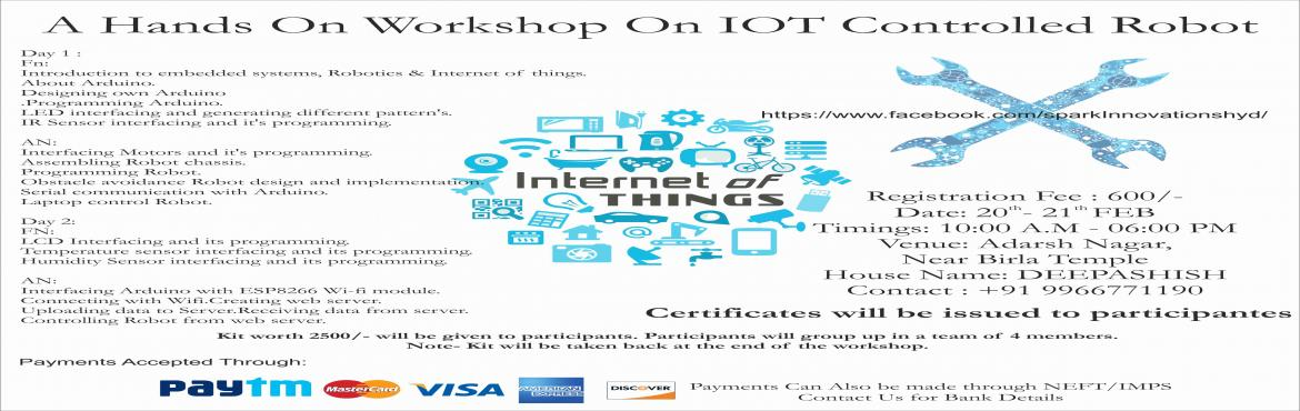 A Hands On Workshop On IOT Controlled Robot