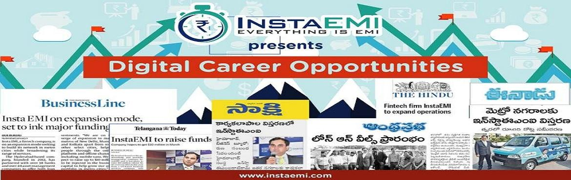 Book Online Tickets for Career Drive In Digital Banking 17th Feb, Secunderab. Career drive in digital Banking,17Feb, at Hari hara Kala Bhavan SecBad,All qualifications can Register now Register here! Spread this information. InstaEMI a fintech compaany an Hyderabad based, is in greater expansion across the country, they are ab