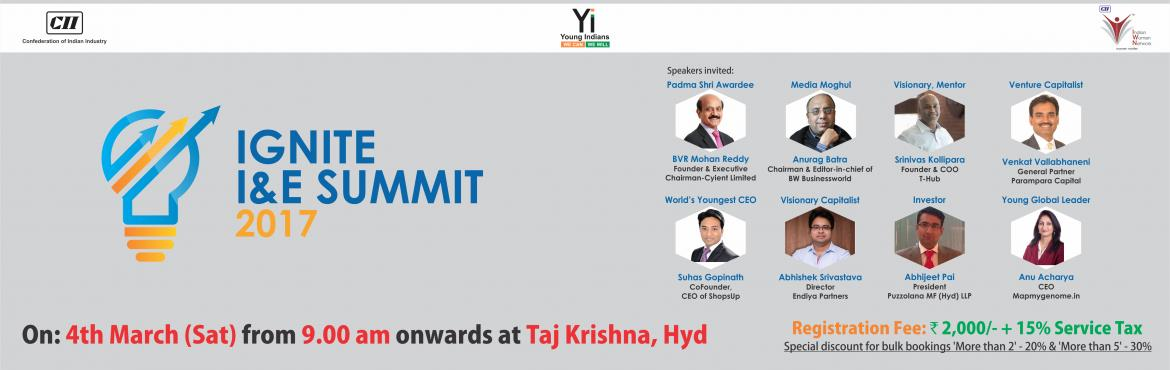 Book Online Tickets for IGNITE I and E SUMMIT , Hyderabad. There is an overall national consensus in favour of adopting a growth-oriented model around entrepreneurship and innovation. The time is ripe to implement right policies and initiatives to encourage entrepreneurship and foster innovation. The role of