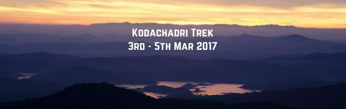 Book Online Tickets for Kodachari Trek | Plan The Unplanned, Bengaluru. Kodachadri Trek comprises of a complete package of natural beauty - it possesses compact forests, beautiful waterfalls en route, gorgeous jungle trails and picturesque landscapes! Located amidst the Western Ghats of Karnataka, Kodachadri is 1,343 met