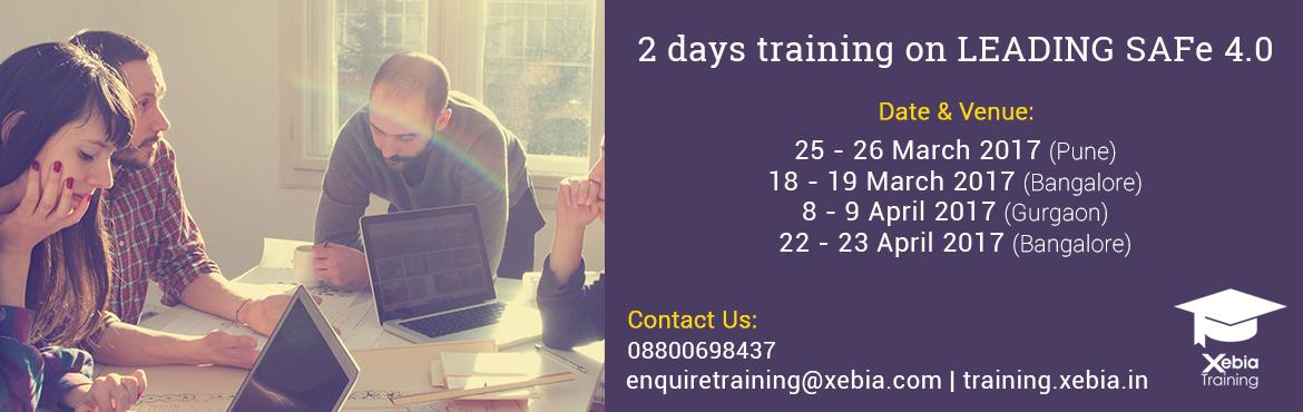 Book Online Tickets for Leading SAFe 4.0 Training | 08 - 09 Apr , Gurugram. LEADING SAFe 4.0 This two-day course teaches the Lean-Agile principles and practices of the Scaled Agile Framework® (SAFe®). You'll learn how to execute and release value through Agile Release Trains, how to build an Agile Portfolio, an