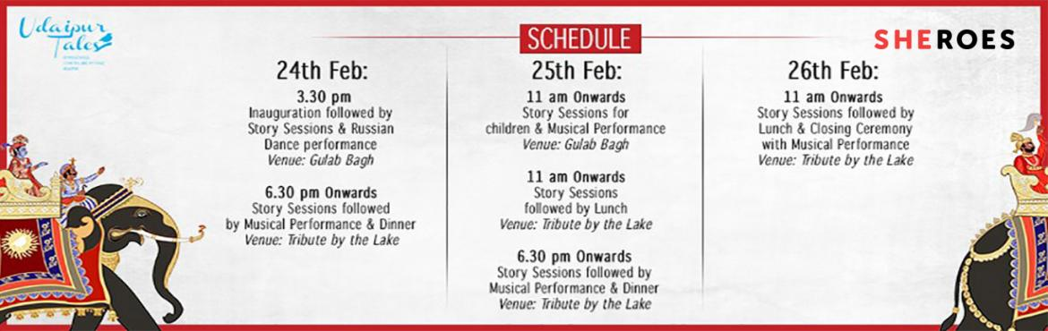 Book Online Tickets for Udaipur Tales: International Storytellin, Udaipur.   Udaipur Tales Brings A 3 Day International Storytelling Festival To the 'Venice of the East'   Storytelling is an art; and storytellers, the sculptors of our psyche. The Udaipur Tales Festival is a celebration of both. The fes