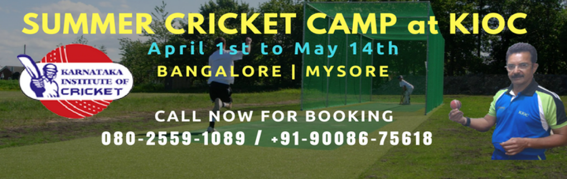 Book Online Tickets for Summer cricket camp at Karnataka Institu, Bengaluru.   KIOC is pleased to announce the commencement of our 21st edition of KIOC Summer Camp. The summer camp activities set in motion on April 1st.In order to expand and cater it's elite cricket training services to more aspirants, it has set u