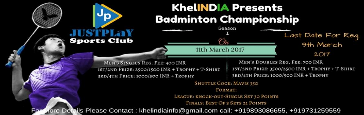 Book Online Tickets for KhelINDIA - Badminton Championship, Bengaluru. Date of Tournament: 11-Mar-2017 (Saturday) Last Date for Registration: 9-Mar-2017 Registration Fee: -      400 rs for MS -      700rs for MD  Rules for the tournament: ü  The tournament is o