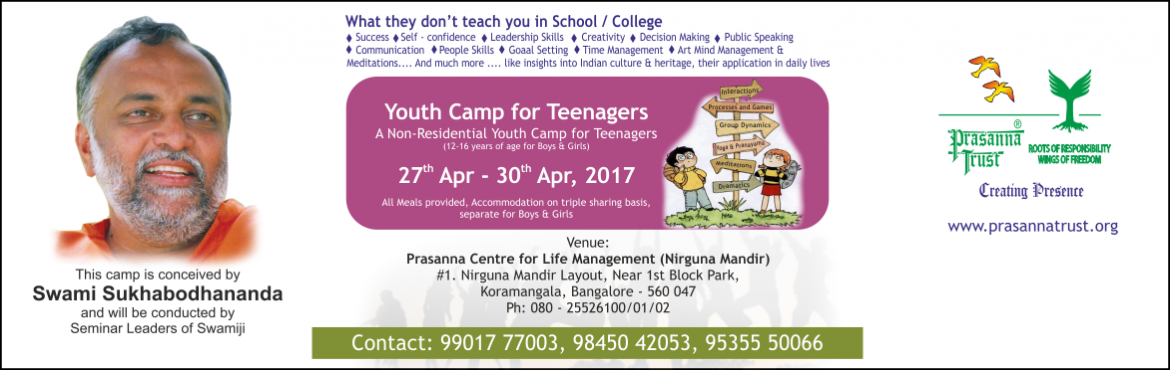 Book Online Tickets for  Youth Camp Non-Residential , Bengaluru. Some of the most formative years of a person's life are between the ages of 12 to 25 years. Negative peer pressure, exam pressure, emotional turmoil from life-changing events, among many other challenges, makes this a particularly difficult per