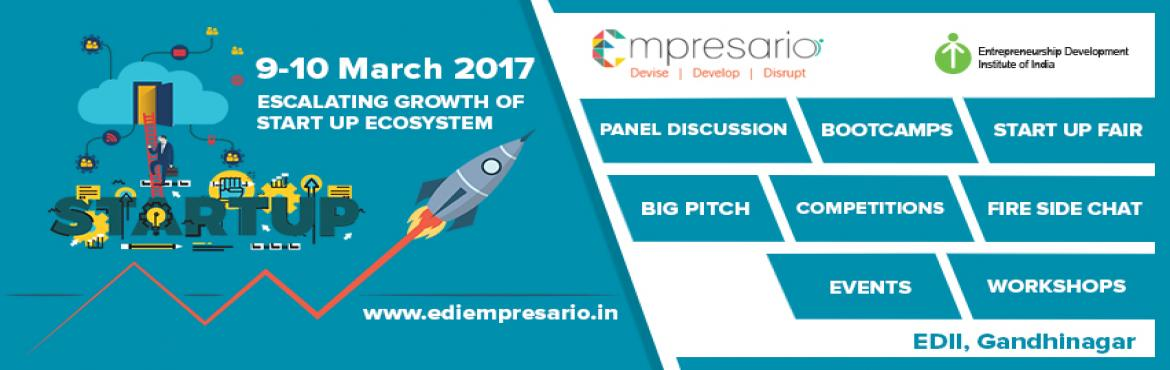 Book Online Tickets for EDI Empresario, Ahmedabad.       Empresario is the annual flagship event organized by the students of Entrepreneurship Development Institute of India, Ahmedabad. It is an exclusive platform for Startups, new age Entrepreneurs, industry mentors, investors and the student c