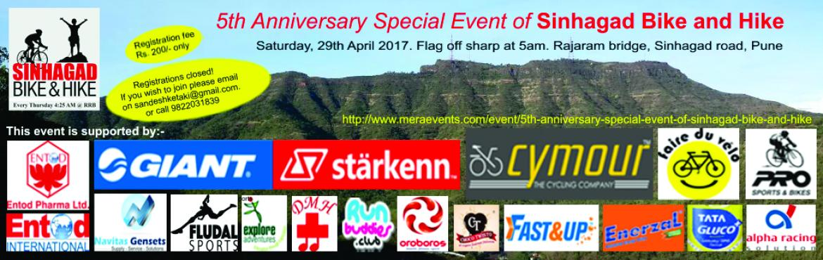 Book Online Tickets for 5th Anniversary special event of Sinhaga, Pune. Instructions: While booking the Event registration fees, if you select any of the optional tickets (Jeep, Rent a cycle or Tshirt) that optional ticket istreated as secondattendee and you will be asked to fill in all the details agai