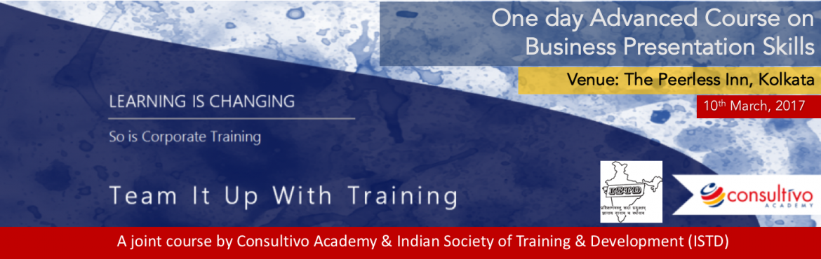 Book Online Tickets for Advanced Business Presentation Skills Tr, Kolkata.    Program Overview  Giving a presentation can be a scary prospect - but this course will give you the confidence and presentation skills to become an effective speaker. And you will even have fun at the same time! Our Presentation skills train