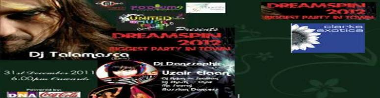 Book Online Tickets for DREAMSPIN 2012 , Bengaluru.  DREAMSPIN 2012 At Clarks Exotica  THE BIGGEST NEW YEAR PARTY IN BANGLORE WD OVER 3ACRE OF DANCE FLOOR, CARNIVALFOOD FEST, UNLIMITED HARDCORD LIQOUR AND MORE !!!!  Description:  United By Music Carnival 12.0 along with Eclipse Fashi