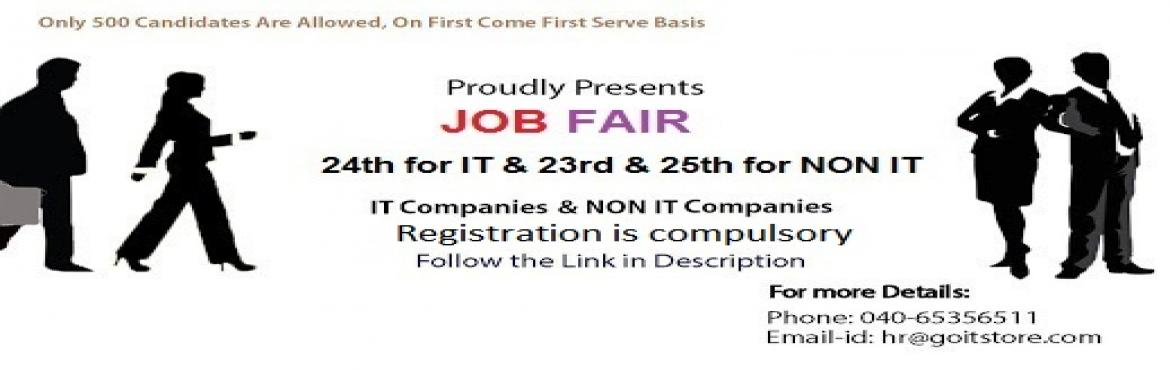 IT on 24th March and Non IT on 23rd and  25th March 2017 (Freshers and Experience) Job Fair @ GOITSTORE, Hyderabad Meerpet X Roads