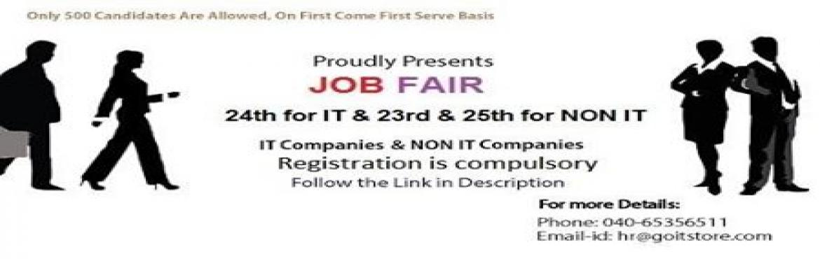 Book Online Tickets for Online (FRESHERS + EXPERIENCED) JOB FAIR, Hyderabad. Goitstore, www.goitstore.com/jobfair  Any Programming Languages & Experience Needed Category of Job ? (IT & NON IT)    Benefits: 1. IT and NON IT Companies  2. Candidates will get to attend 5 companies. 3. Only 500 candida