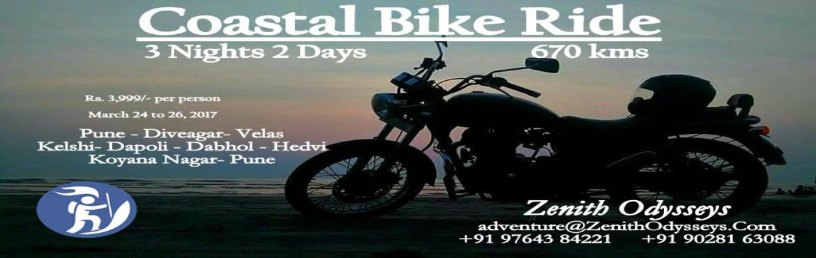 Book Online Tickets for Coastal Bike Ride, Pune.   FEE INCLUDES :   Meals: Friday & Saturday – Breakfast, Lunch, Evening tea and snacks & DinnerSunday – Breakfast, Lunch, Evening tea and snacksStay: Home Stay at Velas (Dormitory Accommodation, separate rooms for girls