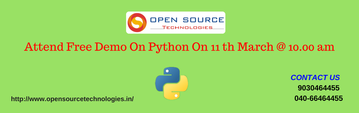Free Python Demo In Open Source Technologies On 11th March @ 10 AM