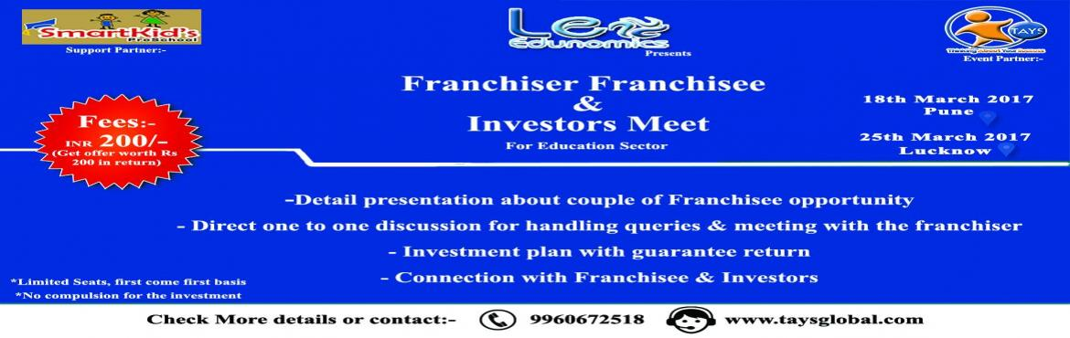 Book Online Tickets for FRANCHISER  FRANCHISEE INVESTORS MEET, Pune.   Leo Edunomics Presents great Franchisee Opportunity for business man, retired officers, doctors and would be women entprepreneurs.    We are brining only one or two best economical franchiser with proven track record for the easy dec