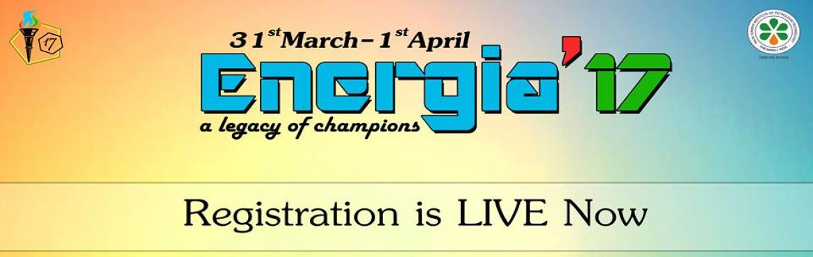 Book Online Tickets for Energia, Jais.   \'ENERGIA\' is a national level intercollegiate annual Sports fest of Rajiv Gandhi Institute of Petroleum Technology ( it has been set up through an Act of Parliament by the Ministry of Petroleum and Natural Gas in 2007, and has been accorded