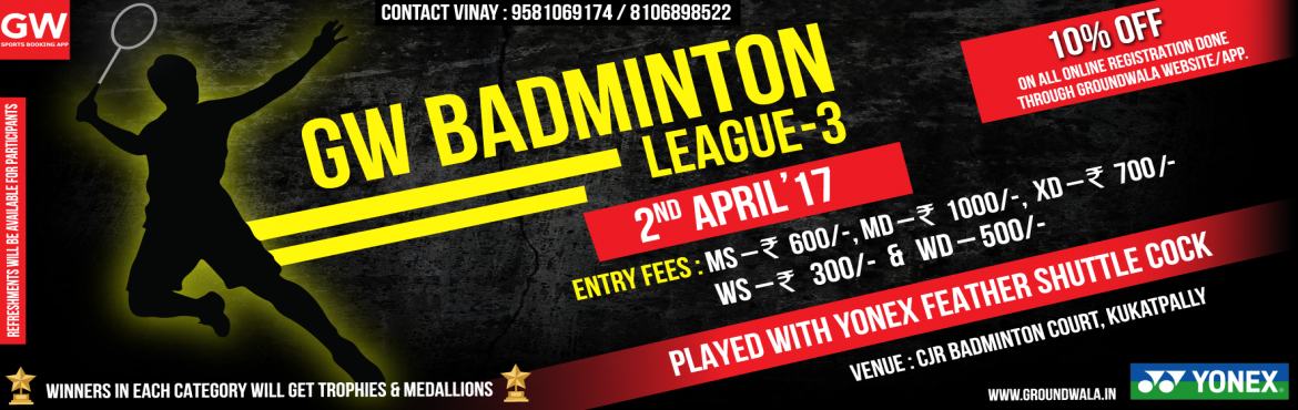 Book Online Tickets for GW Badminton League 3, Hyderabad.   GW Badminton League third edition is schedule to happen on 2 nd April. In this event we are inviting entries both men and women participants in mentioned categories. The event is exclusively for corporate employees and working professionals. B