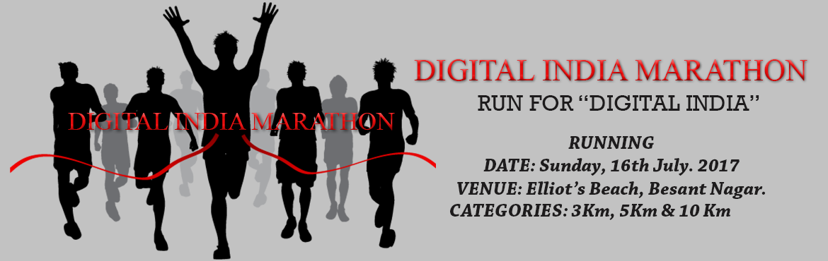 """Book Online Tickets for Digital India Marathon - Run for Digital, Chennai. Let's Feed Chennai is planning to organize the """"DIGITAL INDIA MARATHON"""", a 10 Km run at Elliots Beach on Sunday 16th July 2017 starting at 6.00 am from Elliots house. This 10 Km run will have 2 loops of 5 Km each. Water & Electr"""