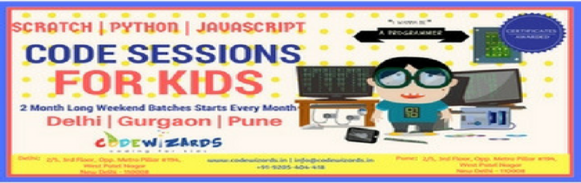 Book Online Tickets for Summer Code Camp (Scratch/Python) - 1, Pune. Modern day Hogwarts for Programming is finally here in your town! Kids, New to Computers/Programming? Not anymore!     Come this summer and experience the interactive world of programming through CodeWizards where you transform your imagina