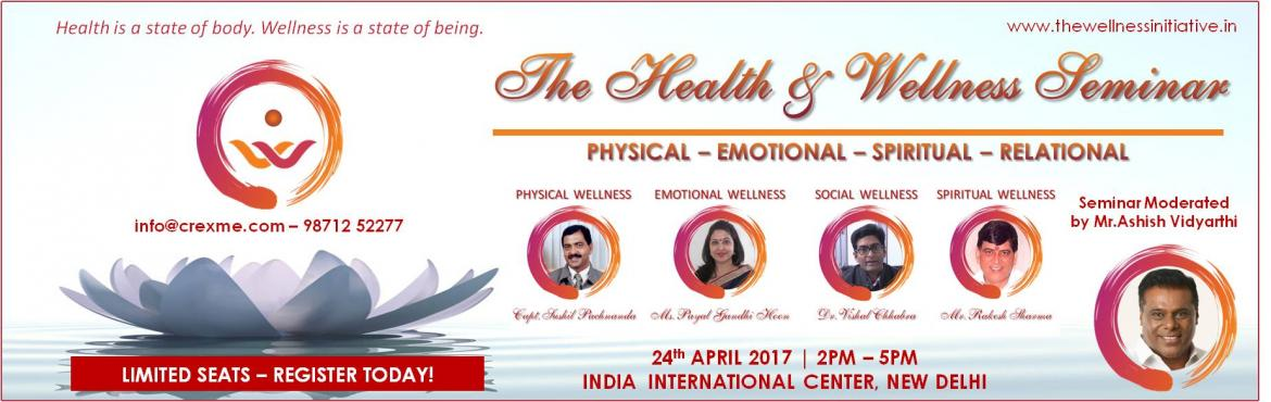 Book Online Tickets for The Health and Wellness Seminar, NewDelhi.    Come join Ashish Vidyarthi - the Master Storyteller - as he weaves a magical story around the selected 4 Elements of Wellness. You will find a relevance of these elements in every part of your day to day life. Ph