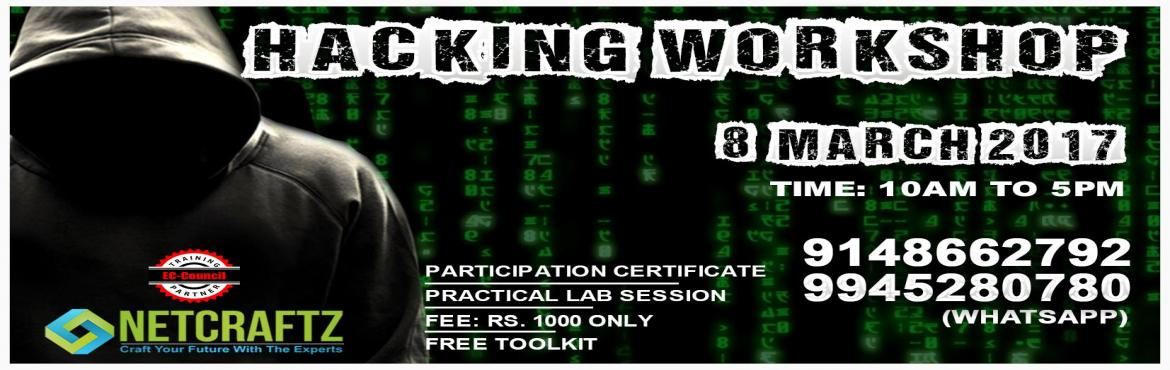 Book Online Tickets for ETHICAL HACKING WORKSHOP, Bengaluru.  Overview of the WorkshopOne day Workshop on Ethical Hacking and Cyber Security. The focus of the workshop is to teach you how to protect yourself from the menace of hacking. During the workshop, the primary aim is to introduce you to the curren