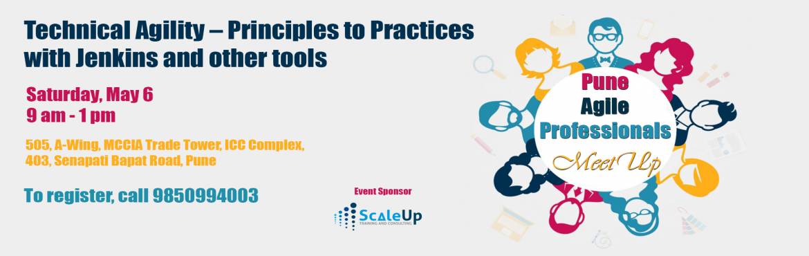 Book Online Tickets for Agile Meet Up: Technical Agility with Pr, Pune. Meet-up Link:https://www.meetup.com/Pune-Agile-Professionals/events/238975736/ Event Deion: Many of us already know about agile manifesto, principles, and values, still teams fail to implement agile. Join this Meetup to explore the basic pre-re