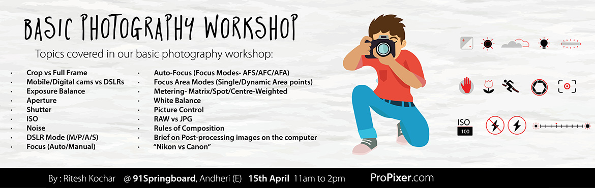 Book Online Tickets for Basic Photography Workshop, Mumbai. A picture is worth a thousand words Photography can help us discover the world, and ourselves in the process. But to fulfill this potential, you need mastery of your camera and some critical fundamentals. This workshop is a great opportunity to begin