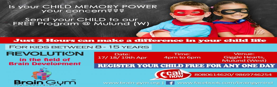 Book Online Tickets for Free Memory Workshop for Kids , Mumbai.