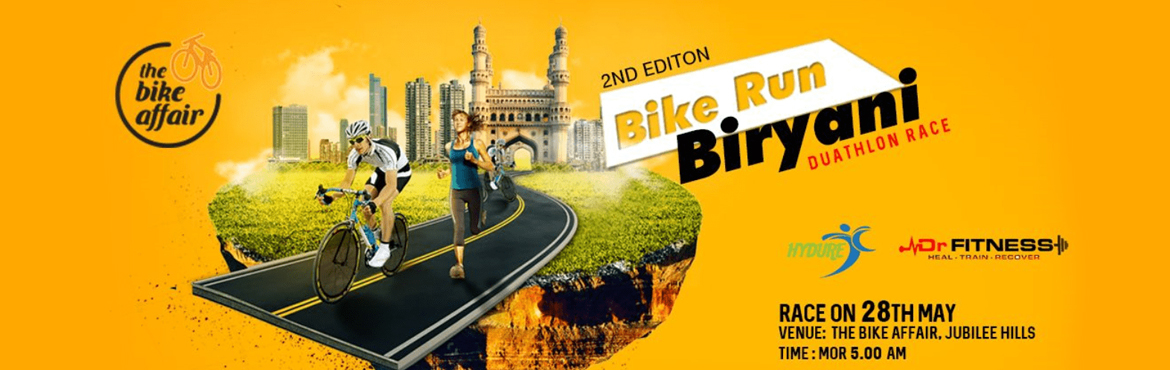 Book Online Tickets for Bike Run Biryani - May 2017, Hyderabad. Bike Run Biryani is back with second edition. BRB May 2017 will be held on Sunday May 28th 2017. Bike Run Biryani is a novel type of duathlon. A duathlon is a race where one follows a bike with a run. Most duathlons start with a run, followed by a bi