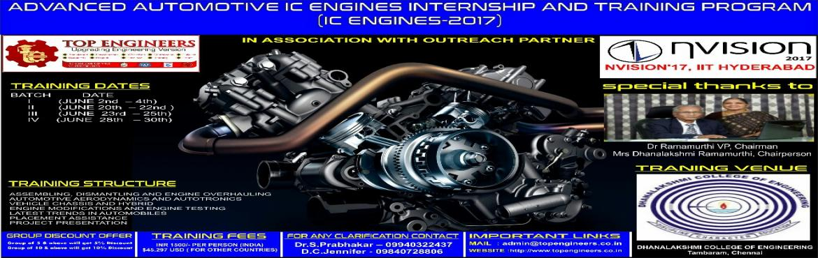 Book Online Tickets for ADVANCED AUTOMOTIVE IC ENGINES INTERNSHI, Manimangal. ADVANCED AUTOMOTIVE IC ENGINES INTERNSHIP AND TRAINING PROGRAM  (IC ENGINES-2017)  INDIA'S LEADING SUMMER AUTOMOTIVE IC ENGINES TRAINING PROGRAM  Organized by   TOP ENGINEERS [India's leading educational service conducti