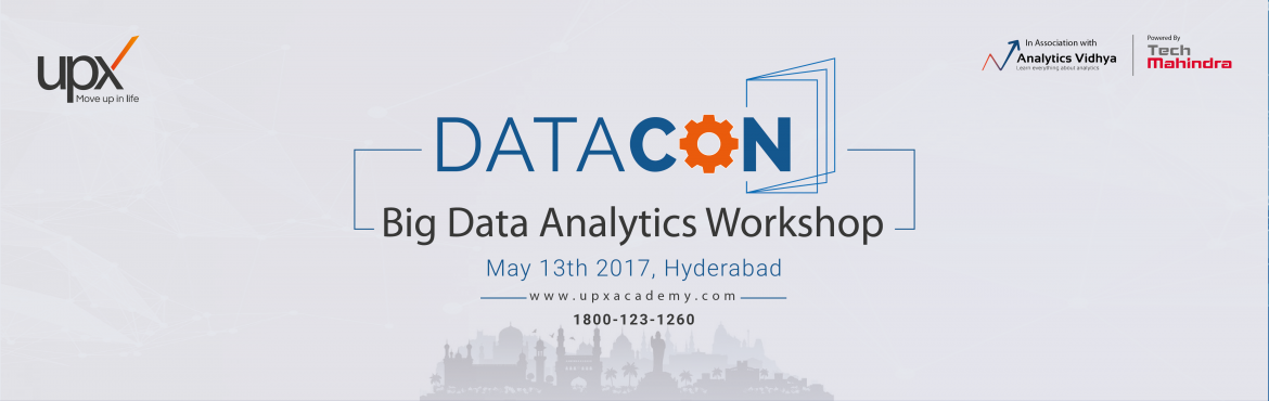 Book Online Tickets for Datacon Workshop, Hyderabad. Take the first step towards getting Big Data ready with a daylong workshop on Big Data and Analytics. Get a complete overview of Big Data Analytics landscape with learnup sessions conducted by leading experts. Gain insights and answers to your questi
