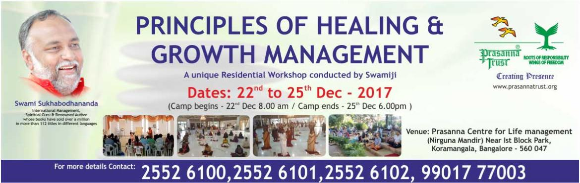 Book Online Tickets for Principles of Healing and Growth Managem, Bengaluru. The workshop helps you remove the clouds of pain and suffering that engulf you so that you can let the sunshine back into your life. It explores deeper dimensions of healing and growth, working at both a subconscious and a conscious level. Methodolog