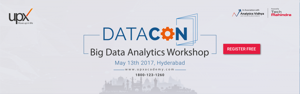 Book Online Tickets for Datacon Workshop, Hyderabad.  About DataCon - Big Data Analytics Workshop | Hyderabad   Take the first step towards getting Big Data ready with a daylong workshop on Big Data and Analytics. Get a complete overview of Big Data Analytics landscape with learnup sessions