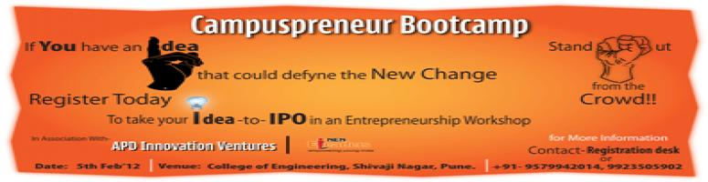 Book Online Tickets for Campuspreneur & NEN @CoE_Pune - 5-7 Feb , Pune. 