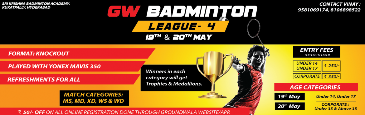 Book Online Tickets for GW Badminton League 4, Hyderabad.   GW Badminton League 4th edition   Entries invited both men and women participants in mentioned categories. For the first time we are also inviting entries in U 14 and U 17 categories. Below are some details.    Tournam