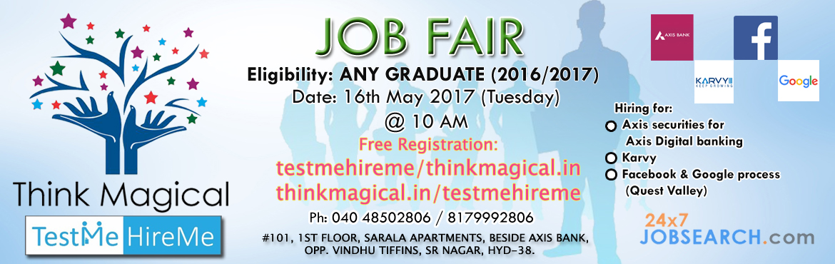 Book Online Tickets for TestMeHireMe Job Fair for graduates, Hyderabad. TestMeHireMe Job Fair for graduates (2016/2017) Date: 16th May 2017 (Tuesday) Time: 10AM Registration free: testmehireme/thinkmagical.in or thinkmagical.in/testmehireme  Office: Think Magical, #101, I Floor, Sarala Apartments, Beside Axis Bank,