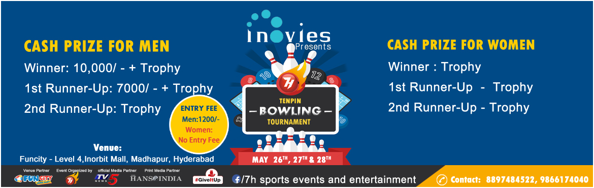 Book Online Tickets for 7H Tenpin Bowling Tournament, Hyderabad. Sports Event : 7h 10 pin bowling event at Fun city Inorbit mall Hyderabad Venu : Funcity, 4th Floor, Inorbit mall, Hyderabad, Pin 500081 Contact No: 8897484522, 9866174040 http://www.7hsportsevents.com Prizes Winner