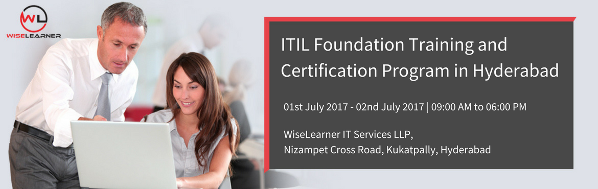 Book Online Tickets for ITIL Foundation  Training and Certificat, Hyderabad. About The Event OVERVIEW The Information Technology Infrastructure Library (ITIL®) is a best practice IT Service Management framework developed by the Office of Government Commerce (OGC) within the UK government. It has been developed in collabor