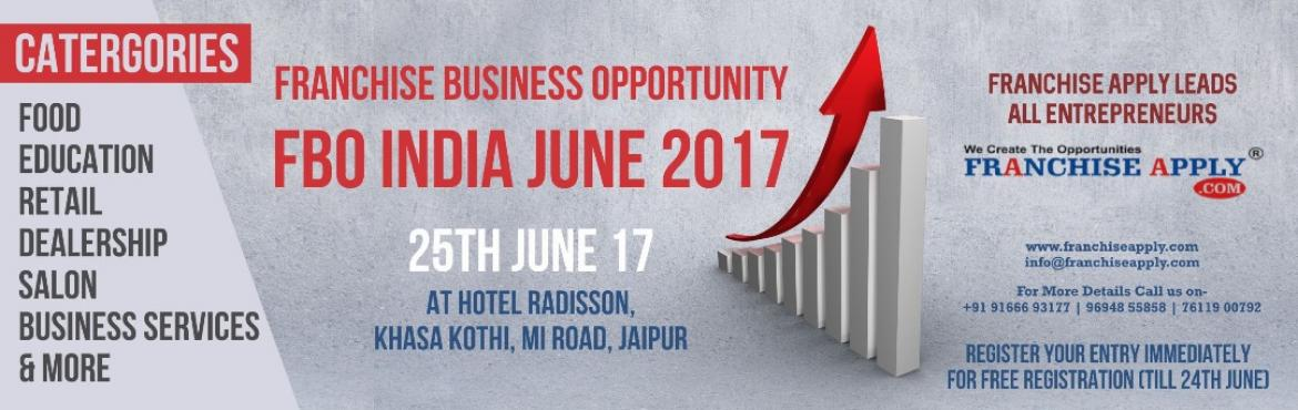 Book Online Tickets for Franchise Business Opportunity (FBO INDI, Jaipur. With 3rd year in franchising business, our proficiency to provide platform to Franchisors, investors, aspiring entrepreneurs and business owners have grown multifold. In succession of Franchise Apply.com Website ( 1000+ Brand &amp