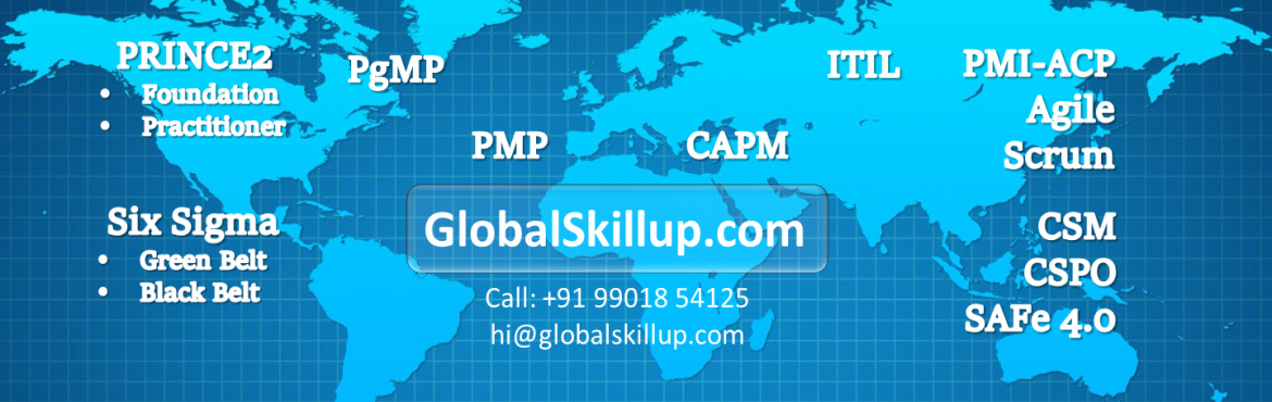 Book Online Tickets for PMP Training and Certification at Bangal, Bengaluru. Global Skillup provides PMP Training towards PMP Certification for Experienced Project Managers and Novice Upcoming Project Managers. Project Management is in ever increasing global demand due to industrial growth worldwide. Industries need certified