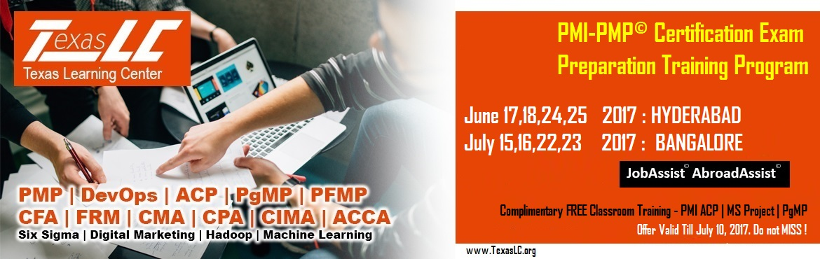 Book Online Tickets for PMP-PMP Certification Training Program, Hyderabad. About The Event  Why PMI-PMP©Certification?  Better Pay: Increases your pay scale. Numerous studies have demonstrated and provide irrefutable evidence that PMP certified professionals earn about 20% higher pay than their non-ce