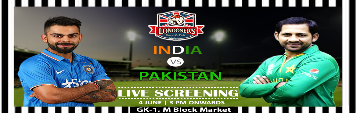 Book Online Tickets for India Vs Pak On Sunday, 4th June, New Delhi. LIVE BIG SCREENING  Gear up for SuperSunday of epic Fun & Rivalry as you catch Team #India Takes on #Pakistan #MeninBlue are back in action to defend the Champions trophy.  The event is an eagerly anticiapted event for al