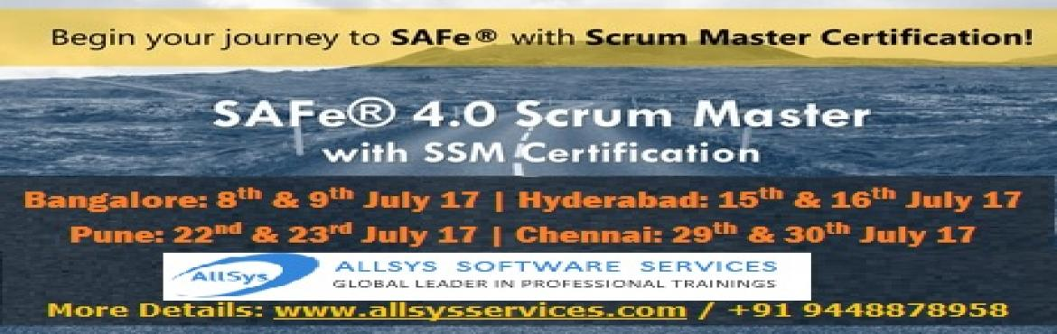 Book Online Tickets for SAFe 4.0 Scrum Master with SSM Certifica, Bengaluru. SAFe® 4.0 Scrum Master with SSM Certification in Bangalore on 8th & 9th July 2017 In this two-day course, you'll gain an understanding of the role of Scrum Master in a SAFe enterprise. Unlike traditional Scrum Master training that focus