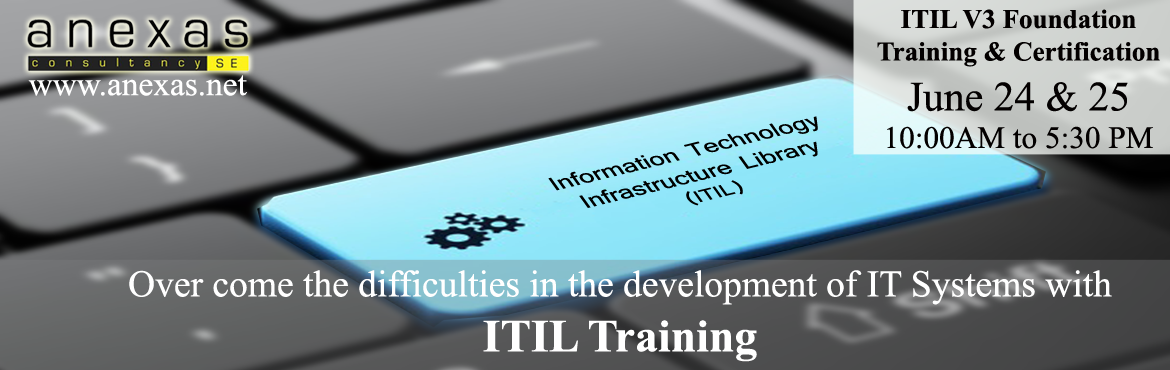 ITIL V3 Foundation Training by Anexas. ITIL is number one for service management professionals everywhere. Clear your ITIL Exam by getting trained fro