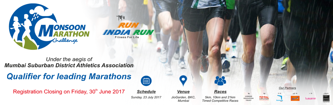 Book Online Tickets for Monsoon Marathon Challenge 2017, Mumbai. Highlights Monsoon Marathon Challenge (formerly known as 10k Challenge) is the sixth edition of RunIndiaRun\'s annual running event. Below are the highlights of the event. 1. This event is a qualifier for all leading running event across India. 2. Th