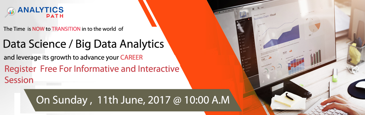 Book Online Tickets for Get Registered for Free Data Science Wor, Hyderabad.  Enter into the World of Data Science to build professional Career Graph The demand for Data Scientist Expertise will soar in the coming year. These are the most lucrative analytical skills that include MapReduce, Apache Pig, Machine Learning, A