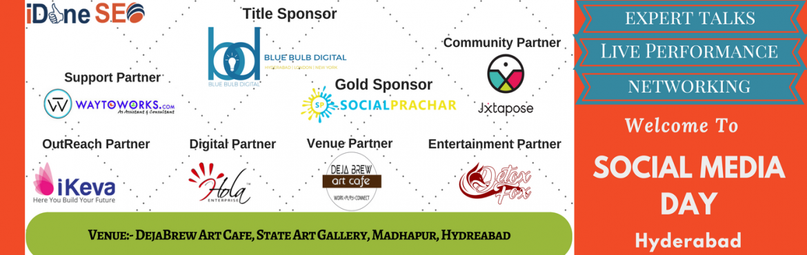 Book Online Tickets for Social Media Day - 2017, Hyderabad. CelebrateSocial Media Day on June,30th at Hyderabad,India. Social Media Day to connect between cultures, movements and super-fandom. It is annual global event celebrated every year in the month of June. Connect with like minded people and get n